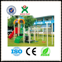 2016 outdoor playground outdoor kids plastic slide outdoor playground tunnel slide outdoor swing with slide QX-11048F