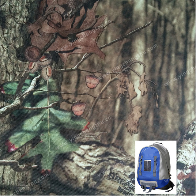 TPU Coated 420D Woodland Camouflage Polyester Oxford Fabric with PU Coated for Outdoor Backpack