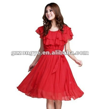 Solid color frills neck line casual dress factory wholesale