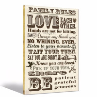 Vintage Family Rules Canvas Wall Art/gallery Wrapped Canvas Prints/inspirational Quote Canvas Artwork
