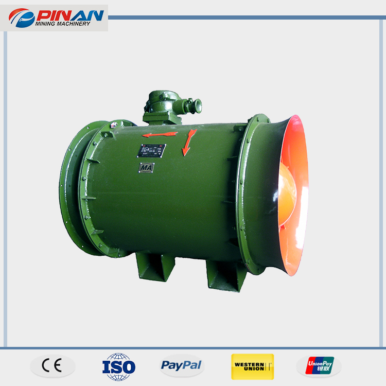 Low energy consumption axial flow fan for mining/tunnel