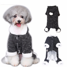 Winter Warm Dog Cat Hoodie Fleece Lined Coat Puppy Christmas Sweater Jumpsuit Kitty Clothes Apparel Pet Costume