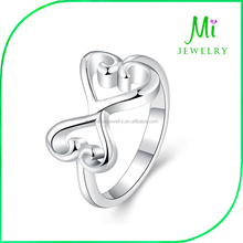 Amazon fashion wholesale jewelry double heart 925 silver rings