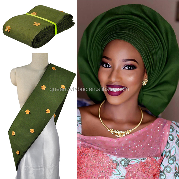 AS012 Queency Unique Design Multi Colors African Aso Oke Gele Ipele Long Headtie with Bead and Applique