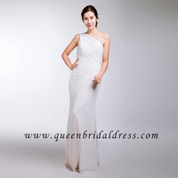 Beautiful one shoulder Bridesmaid dresses White chiffon pleats bridesmaid gowns