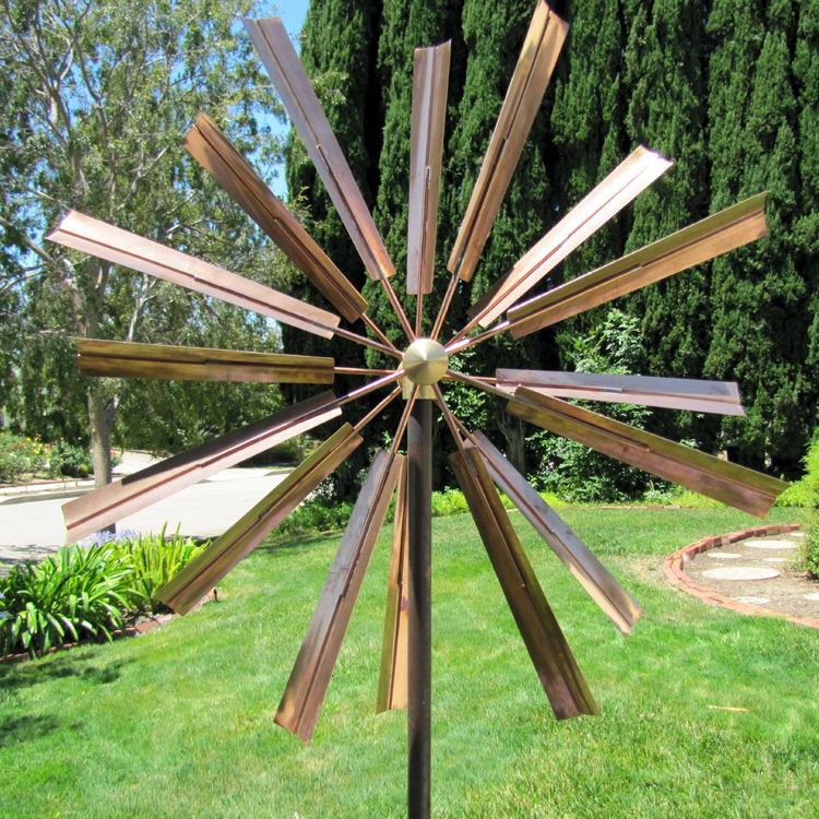 Abstract bronze or stainless steel kinetic windmill sculpture