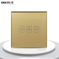 3 gang 1 way Remote Control Touch Switch UK Standard Remote Switch Gold Crystal Glass Panel+LED Wall Light