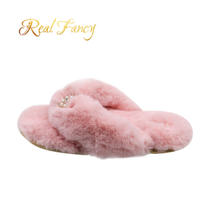 Metal Logo Lady Warm Plush House Slipper