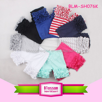 Boutique cotton toddler girls icing shorts summer wholesale baby ruffle shorts