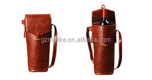 Most popular new products orange leather wine carrier
