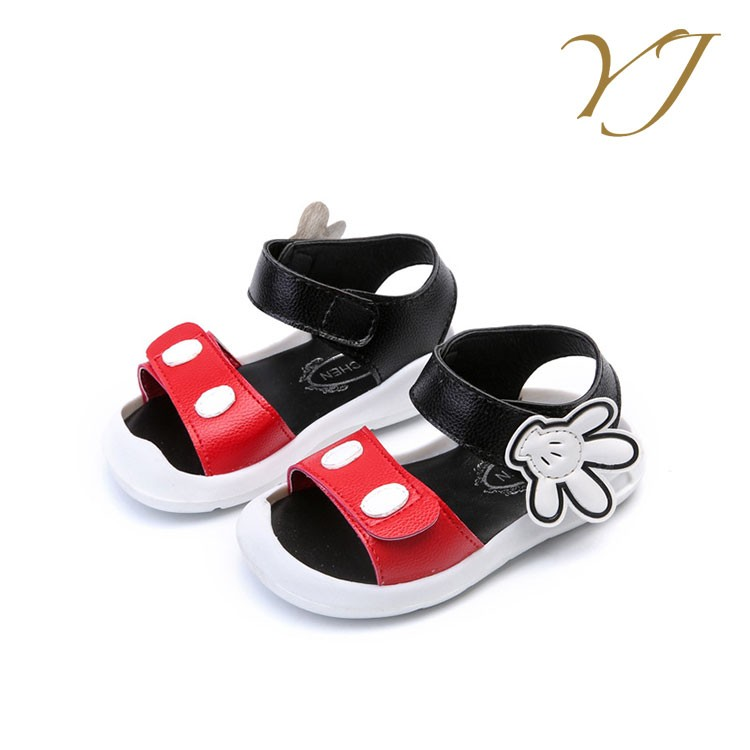 Hot sale kids fancy cartoon sandals cheap magnetic velcro shoes for girls