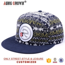 Custom making producer hats adjust woven label full printing pattern snapback hats with leather strap back
