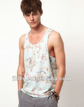 Wholesale cheap 100%cotton men's Vest With Leaf Print And Pocket