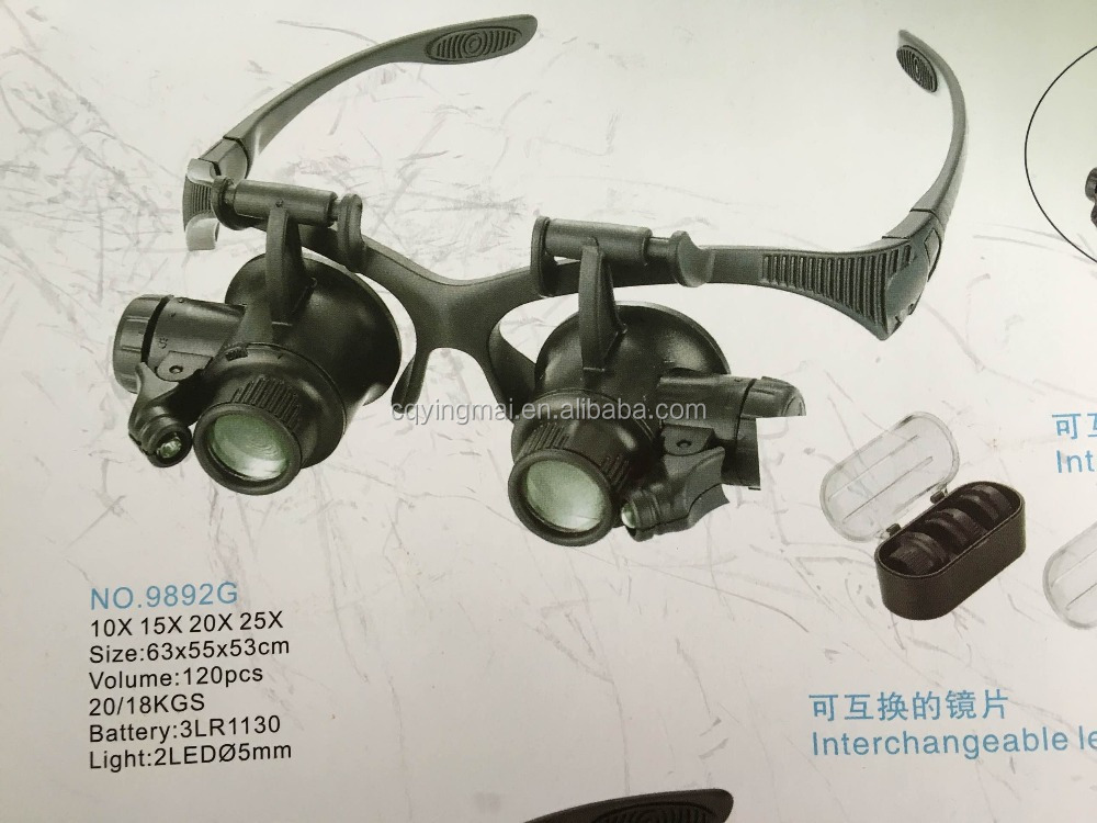 Double Eye Watch Repair Magnifier Loupe Jeweler Magnifying Glasses Tool Set With LED Light