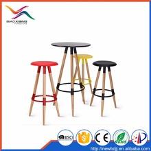 Elegant High Round Wooden MDF Top Metal Frame Chairs Bar Table