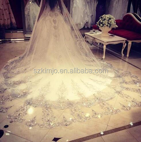 2018 Real Photo Luxury 3.5 Meter Long Wedding Veils Lace Applique Beaded Bridal Veil