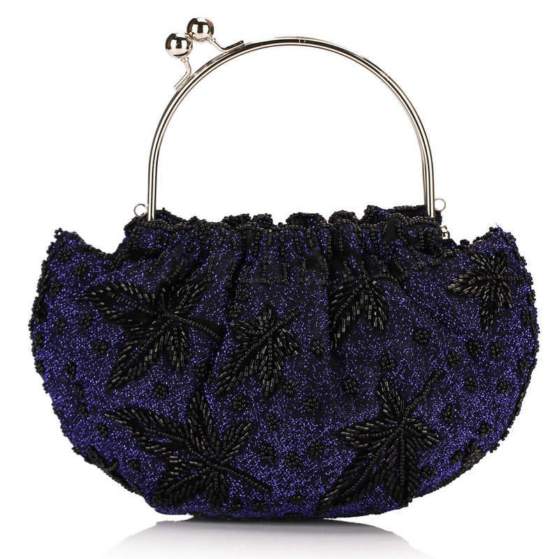 Hot Style wholesale price in retail women's evening bag shell style embroidered beaded clutch bag NO709