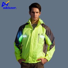 Flashing LED custom men biker hooded jacket