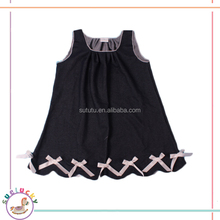 Latest custom elastic denim soft sleeveless sports casual wear frill new design kids dress