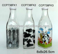 CCP738FK1 1L glass milk bottle with decal printing with metal lid