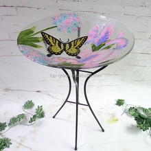 Glass outdoor butterfly decorative bird baths for sale