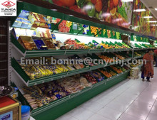 supermarket artificial wooden vegetable and fruit shelf with acrylic box and mirror