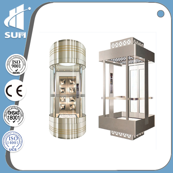 CE approved speed 1.0m/s glass commercial elevators