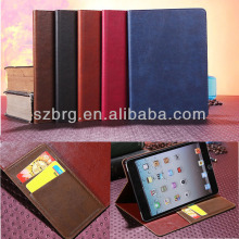 Vintage leather flip stand case cover for iPad mini 2 wallet case