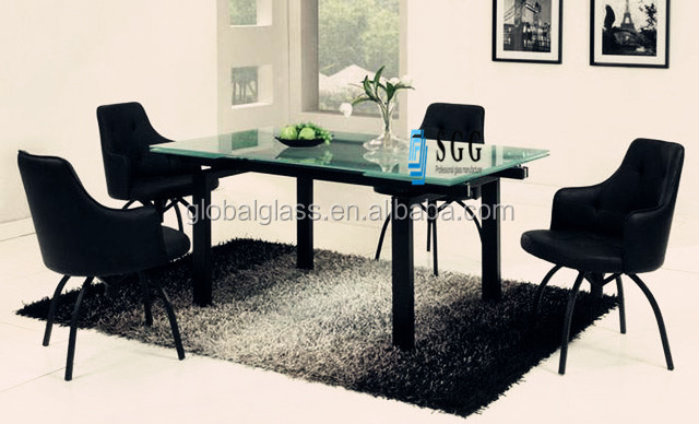 Contemporary frosted glass dining table top