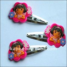 Dora shape soft rubber hairpin for girl's gifts
