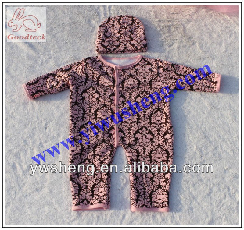 fashion baby damaks printed cotton thick winter rompers one pieces bodysuits