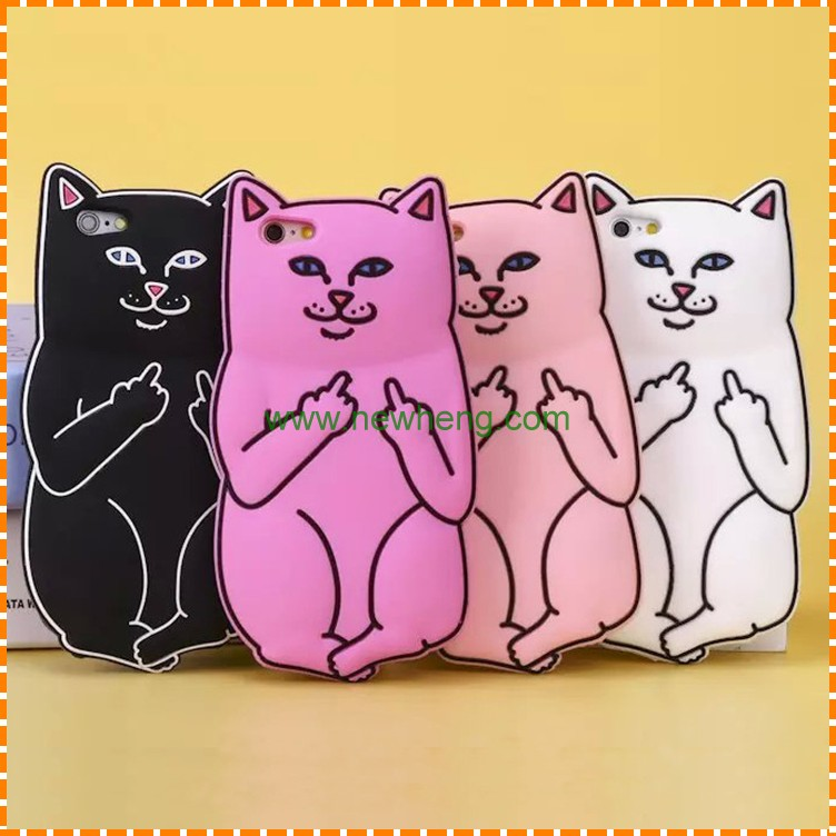 High quality soft 3d Middle finger cat silicon cases for iphone 7 7 plus