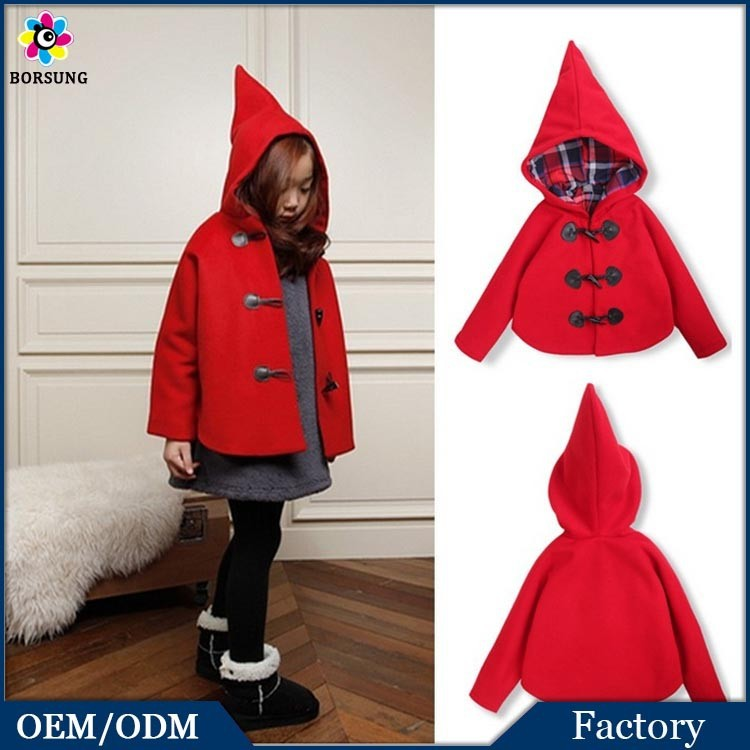 Children Girls Plaid Lining Hooded Bomber Jacket New Designs Sweat Girls Wool Winter Trench Coat