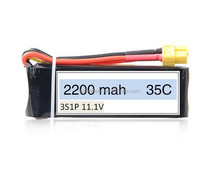 Drone LiPo battery Pack 11.1V 2200mAh 3S continuous high rate 35C Li-polymer battery pack for UAV