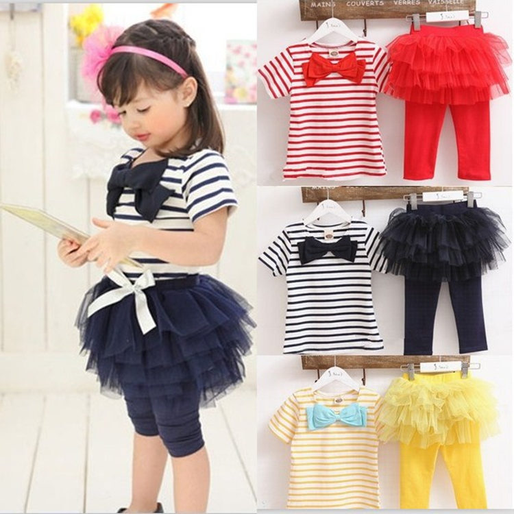 F10393A little girls korean style cheap Stripe t-shirts +pants suits baby boutique sets