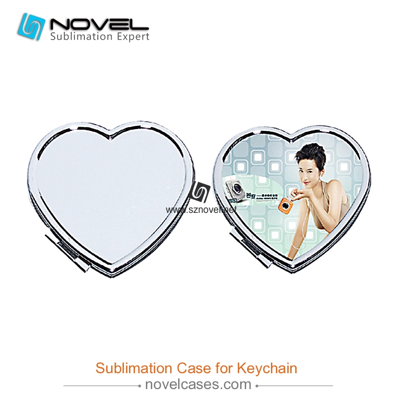 Newest design high quality sublimation small heart shaped mirrors