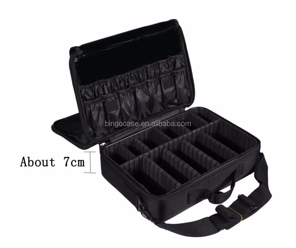 3 Layers Makeup Artist Train Case Cosmetic Bag Shoulder Bag for Travel-Removable Dividers Medium Size