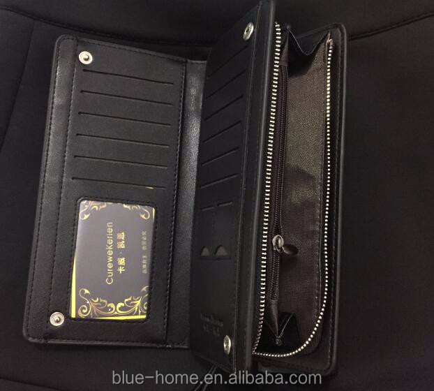 2015 New Arrival Men's Long faux Leather Purses High Grade Business Clutch for Man with phone pouch