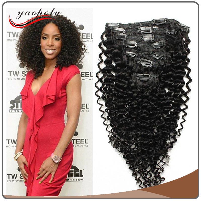 100% Unprocessed Brazilian human hair full head 220g remy clip in kinky tight curly hair extensions