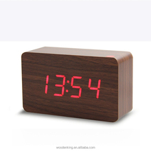 Newest Product For 2017 Fashion Wholesale Custom Logo Mini Smart Bell Personalized desk Alarm Clock Digital Led Wood Clock