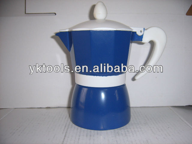 yongkang Aluminum blue Espresso coffee maker/moka pot/coffee stove/coffee maker factory/coffee pot