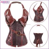 New Arrival Halter Neck Gothic Steampunk Leather 14 Steel Boned Corsets