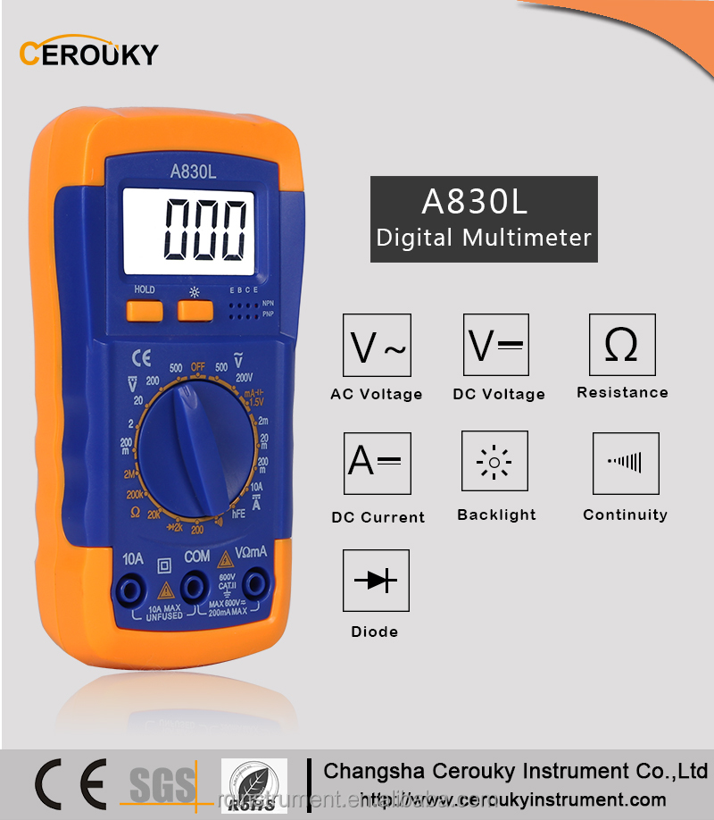 Professional unit excel digital multimeter model A830L 500V