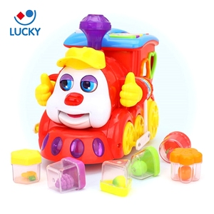Cartoon train intelligent music car assembly learning educational wholesale toy from china
