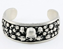 silver stainless steel wholesale skull heads cuff bangle