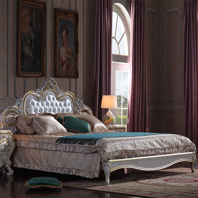 Luxury classic bedroom furniture-French country furniture double <strong>bed</strong>