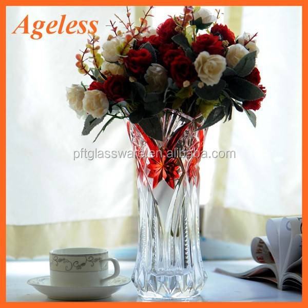 Glass vases/round clear glass 24 inch glass vases