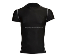 China wholesale 92% polyester 8% spandex mens t shirt home gym t-shirt Tight Fit T Shirt