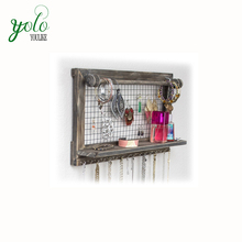 Rustic Brown Jewelry Organizer with Removable Bracelet Rod from Wooden Wall Mounted Holder