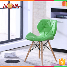 Dining room cheap used comfortable colorful pu leather+wooden legs dining chairs on sale
